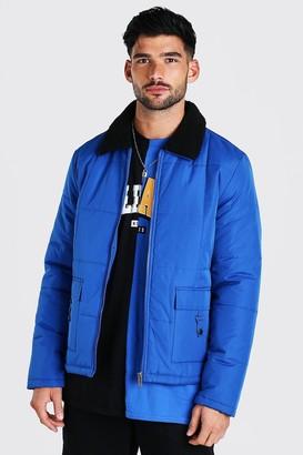 boohoo Mens Blue Nylon Coach Jacket With Borg Collar, Blue
