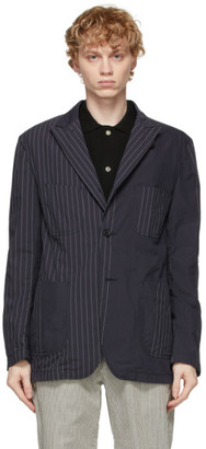 Engineered Garments Navy Nyco Striped Blazer