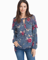 White House Black Market Long Tiered Sleeve Floral Blouse