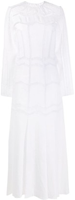 Gabriela Hearst Embroidered Crew Neck Dress