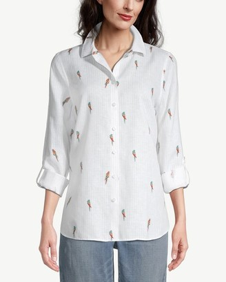 No Iron Linen Parrot-Print Roll-Tab Sleeve Shirt