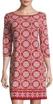 Max Studio Geometric-Print Jersey Shift Dress, Garnet/Rust