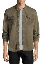 John Varvatos Garment-Dyed Military Shirt Jacket, Olive Green