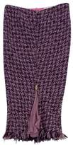 Ungaro Purple & Pink Tweed Front Zip Skirt