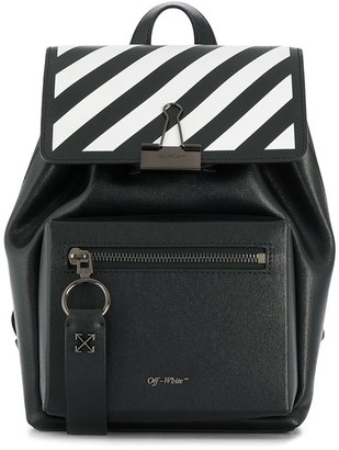 Off-White Striped Clip Backpack