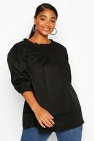 boohoo Plus Crochet Lace Trim Smock Top