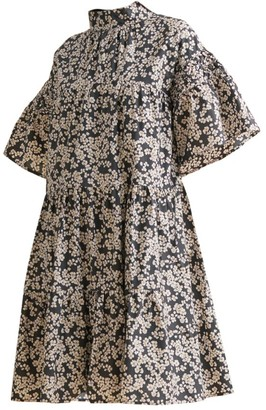 Merlette New York Astell Tiered Floral Cotton Trapeze Dress