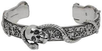 Alexander McQueen Silver Skull and Snake Bracelet