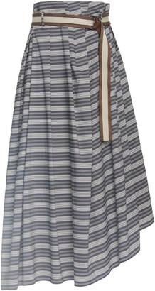 Brunello Cucinelli Striped Poplin Skirt with Monili D-Ring Belt
