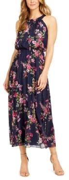 Robbie Bee Petite Floral-Print Maxi Halter Dress With Shine