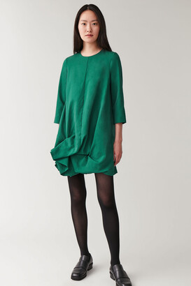 Cos Long-Sleeved Gathered-Hem Dress