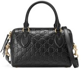Gucci Small Top Handle Signature Leather Satchel - Black