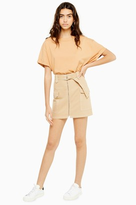 Topshop Womens Sand Utility Belted Skirt - Sand