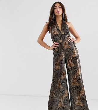 House Of Stars House of Stars wide leg jumpsuit in sheer leopard print-Brown