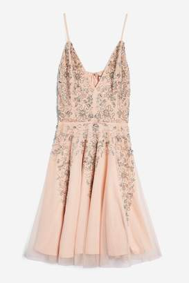 Womens **Roxanne Petite Skater Dress By Lace & Beads - Nude