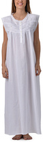 White Embroidered Sleeveless Button Front Nightgown - Plus Too
