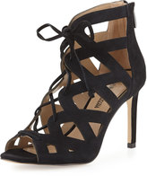 Neiman Marcus Collee Laser-Cut Lace-Up Pump, Black