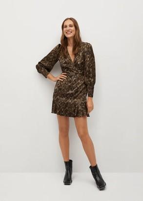 MANGO Snake print gown beige - 2 - Women