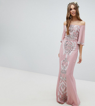 Bardot Maya Tall All Over Embellished Maxi Bridesmaid Dress With Fluted Sleeves-Pink