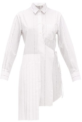 Off-White Popeline Pleated-panel Cotton Wrap Shirt Dress - Womens - White