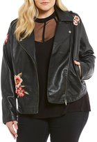 Jessica Simpson Plus Kenley Faux Leather Floral Embroidered Moto Jacket