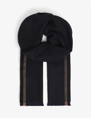 Eleventy Stripe-trimmed wool scarf