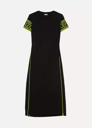 Kenzo Neon Printed Cotton-jersey Midi Dress - Black