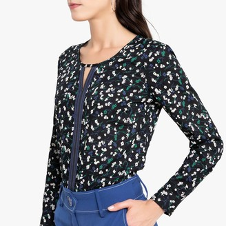 Anne Weyburn Floral Print Blouse with Long Roll-Up Sleeves