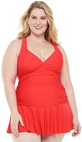 Chaps Plus Size Skirted One-Piece Tummy Slimming Swim Dress