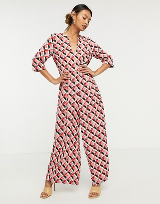 Traffic People wide-legged jumpsuit in retro print