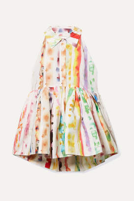 Rosie Assoulin Open-back Printed Cotton-blend Poplin Peplum Top - White