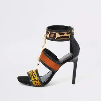 River Island Womens Black animal print ring heeled sandals