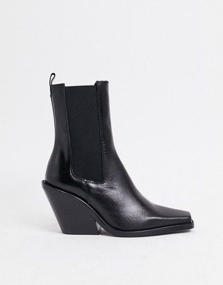 ASOS DESIGN Rhea premium leather western boot in black