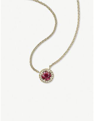 Vashi Halo 18k yellow-gold, 0.50ct ruby and diamond pendant necklace