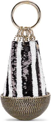 Silvia Tcherassi x Rosantica Atacama Bag in Black & White Sequin Stripes   FWRD