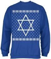 Old Glory Big Star of David Ugly Hanukkah Sweater Mens Sweatshirt Royal X-LG