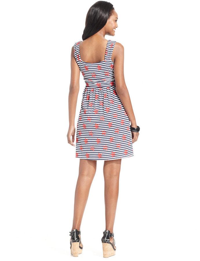 Style&Co. Petite Mixed-Print Twisted-Waist Dress
