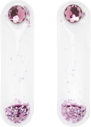 Christopher Kane Purple Glitter Earrings