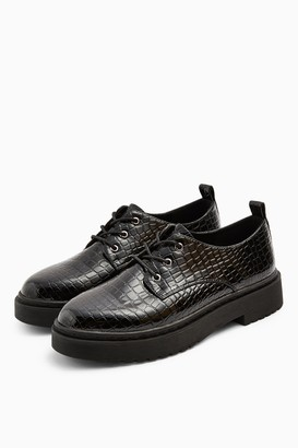 Topshop Womens Archer Black Crocodile Lace Up Brogues - Black Black