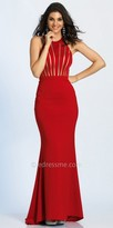 Dave and Johnny Linear Illusion Cutout Fitted Evening Dress