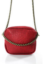 Free People Red Leather Square Zipper Around Chain Strap Crossbody Handbag