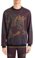 Dolce & Gabbana Heraldic Lion Print Cotton Sweater