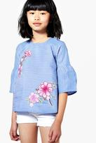 Boohoo Girls Stripe Applique Floral Top