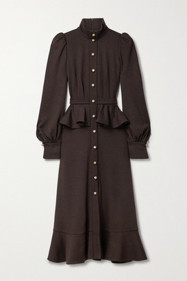 ANNA MASON Phoebe Ruffled Wool-jersey Midi Dress - Chocolate
