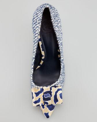 Tory Burch Cleo Tweed & Silk Bow Pump