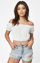 La Hearts Embroidered Off-The-Shoulder Crop Top