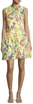 Monique Lhuillier Structured Floral Lace Cocktail Dress, Yellow