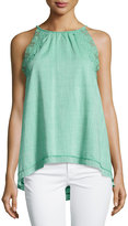 Max Studio Embroidered Sleeveless Blouse, Apple