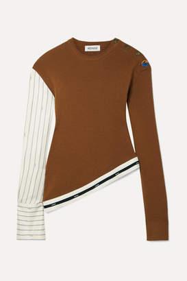 Monse Asymmetric Grosgrain-trimmed Pinstriped Satin-twill And Merino Wool Sweater - Camel
