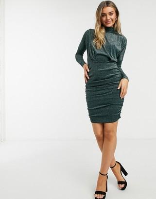 AX Paris glitter long sleeve ruched mini dress in teal